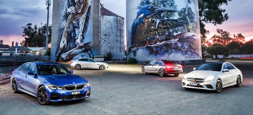 BMW 330i vs Audi A4 45 TFSI vs Jaguar XE 300 Sport vs Mercedes-Benz C300 comparison review