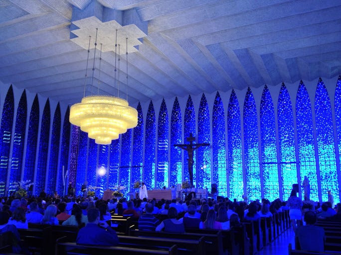 Brasilia's                                                           Santuario Dom                                                           Bosco looks                                                           boxy from the                                                           outside, but                                                           once you step                                                           through the                                                           doors, it's a                                                           sight to                                                           behold. The                                                             walls are made                                                           up of 7,500                                                           pieces of                                                           Murano glass                                                           that when                                                           illuminated by                                                           the outside                                                           sun, cast the                                                           interior in a                                                           blue glow.