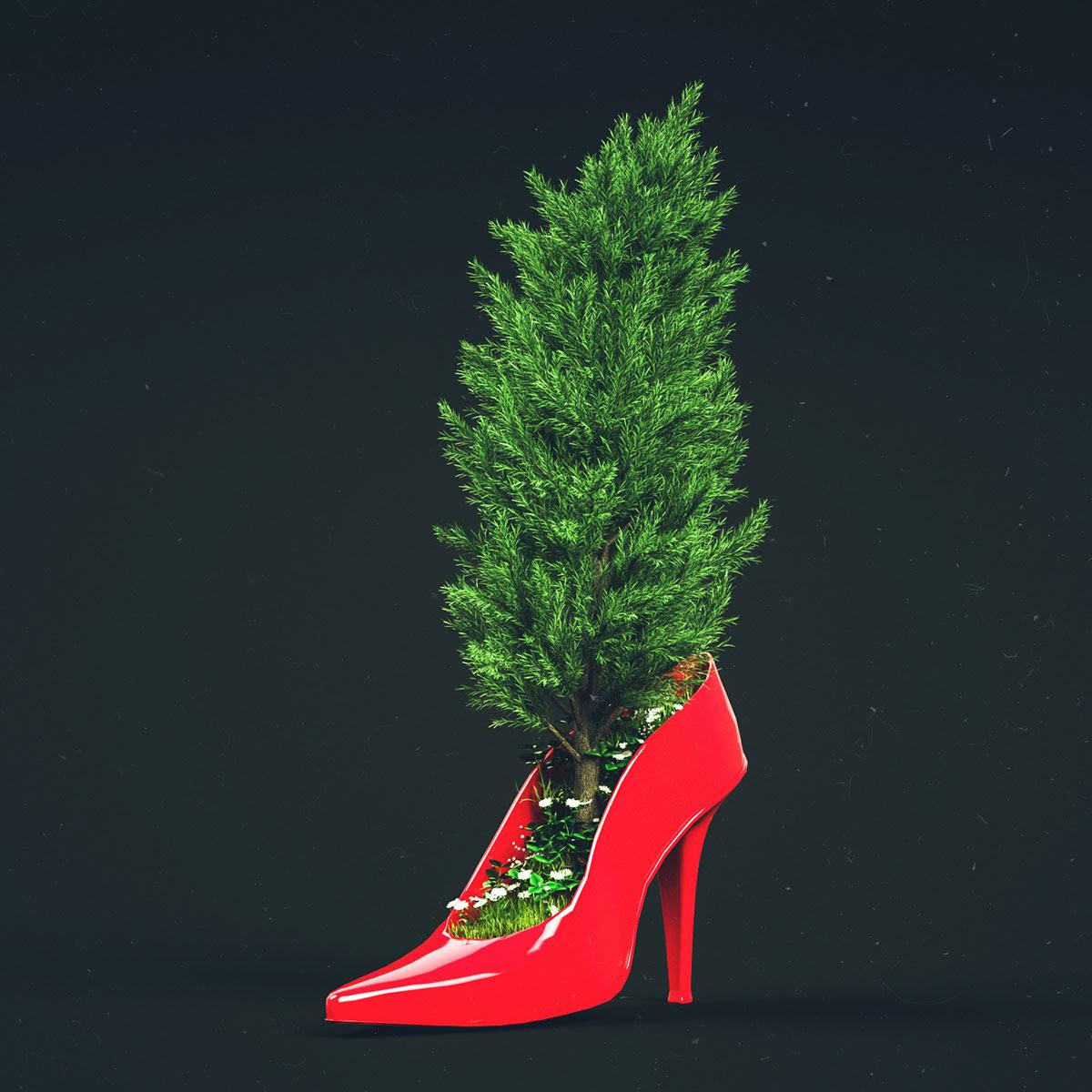 bomba de vermelho com uma árvore que cresce nele
