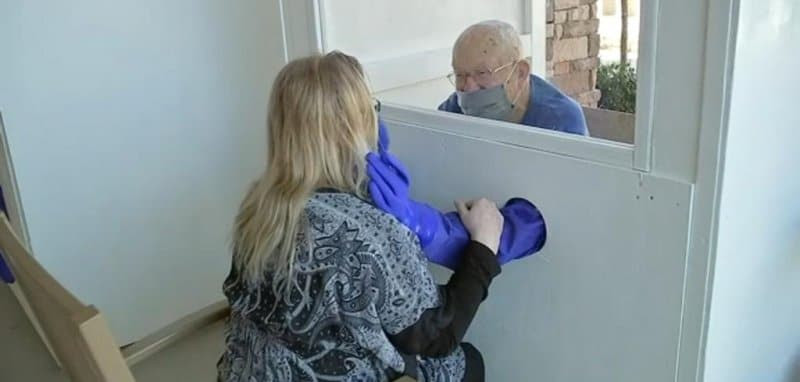 Boy Scouts create a hug booth for local nursing home
