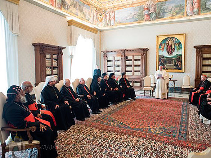 Pictures on request of the meeting of Pope Francis Francis with the patriarchs and the supreme archbishops of the eastern