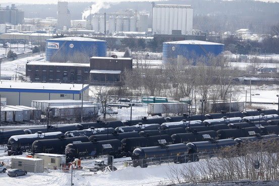 Tank cars lined up at the Port of Albany in New York in February. Associated Press