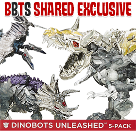 BBTS SHARED EXCLUSIVE DINOBOTS UNLEASHED FIVE PACK PLATINUM ED.