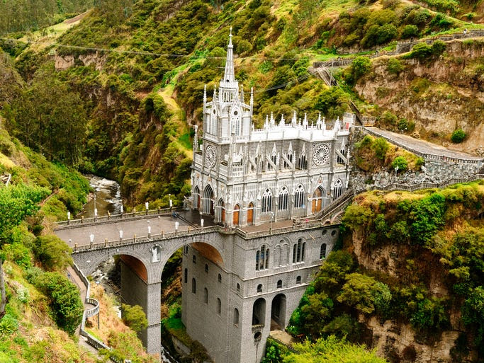 The                                                           neo-Gothic Las                                                           Laras                                                           Sanctuary sits                                                           perched on a                                                           bridge                                                           spanning a                                                           deep river                                                           gorge in                                                           southern                                                             Colombia --                                                           one of South                                                           America's most                                                           dramatic                                                           churches.