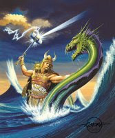 A norseman fights off a sea dragon.