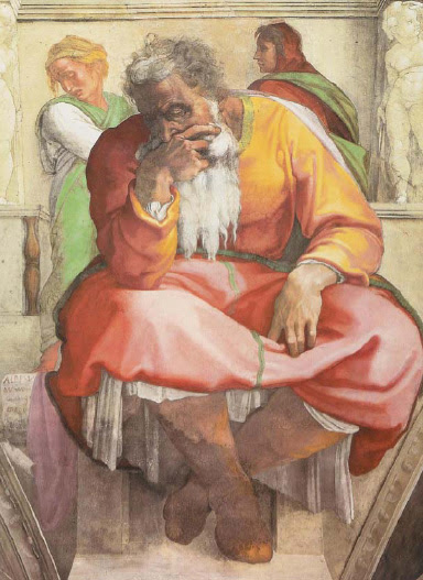 Detail of Michelangel's painting of Jeremiah on the Sistine Chapel ceiling