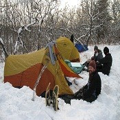 A group winter camping at Frontenac Provincial Park
