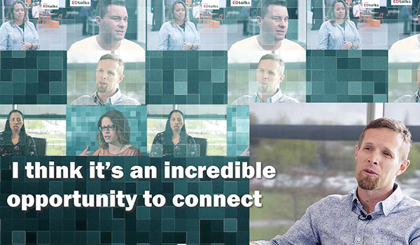 """I think it's an incredible opportunity to connect"" quote with tiles of multiple people being interviewed"