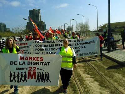 Una de las Marchas por la Dignidad que se dirigen hacia Madrid.