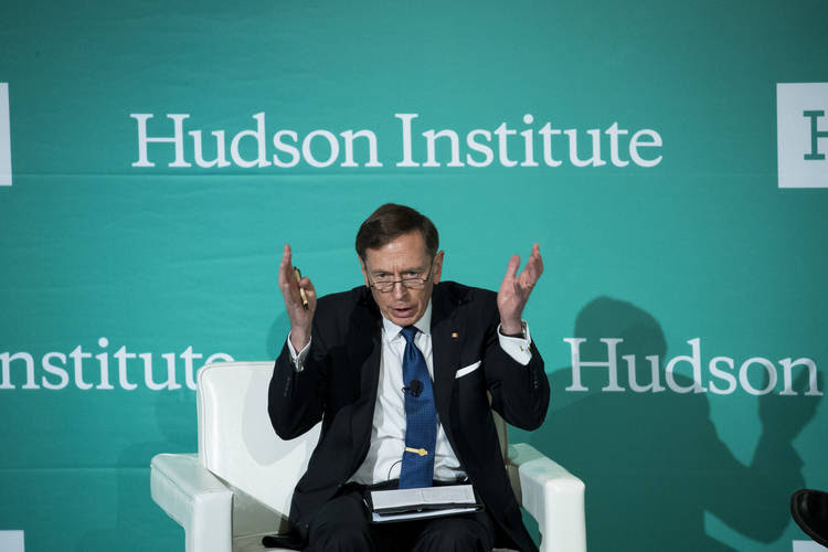 "David Petraeus participates Monday in a Hudson Institute conference on ""countering violent extremism."" (Drew Angerer/Getty Images)"