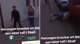 Video of man named 'Ali' sucker-punching Swedish woman prompts calls for vigilante groups to hunt down perpetrator