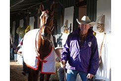 Street Band with Larry Jones at Santa Anita Park ahead of the Breeders' Cup Distaff