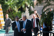 Ben Carson spoke with Donald J. Trump before endorsing him at Mar-a-Lago in West Palm Beach, Fla., in March.
