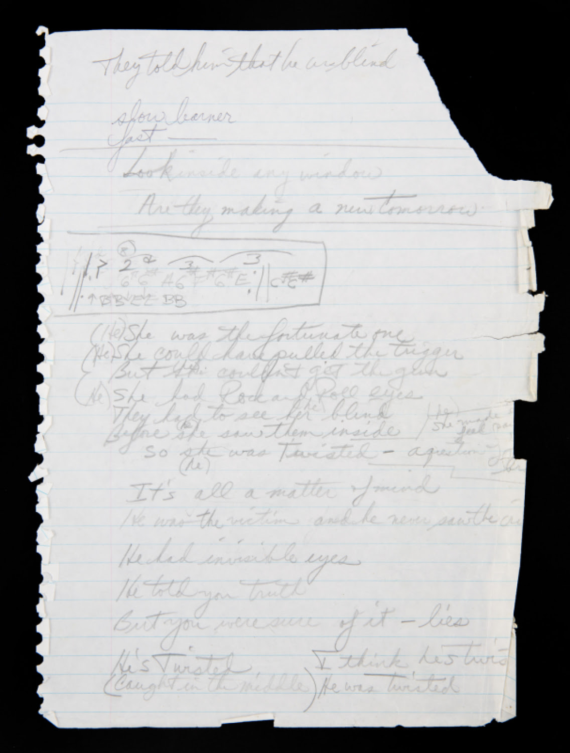 RONNIE JAMES DIO HANDWRITTEN LYRICS