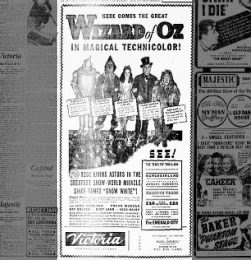 Wizrd of Oz theater ad