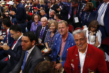 Facing the camera from left, gay and lesbian members of the District of Columbia's delegation to the convention: Rachel Hoff, Bob Kabel, Jill Homan, Greg Nelson and José Cunningham