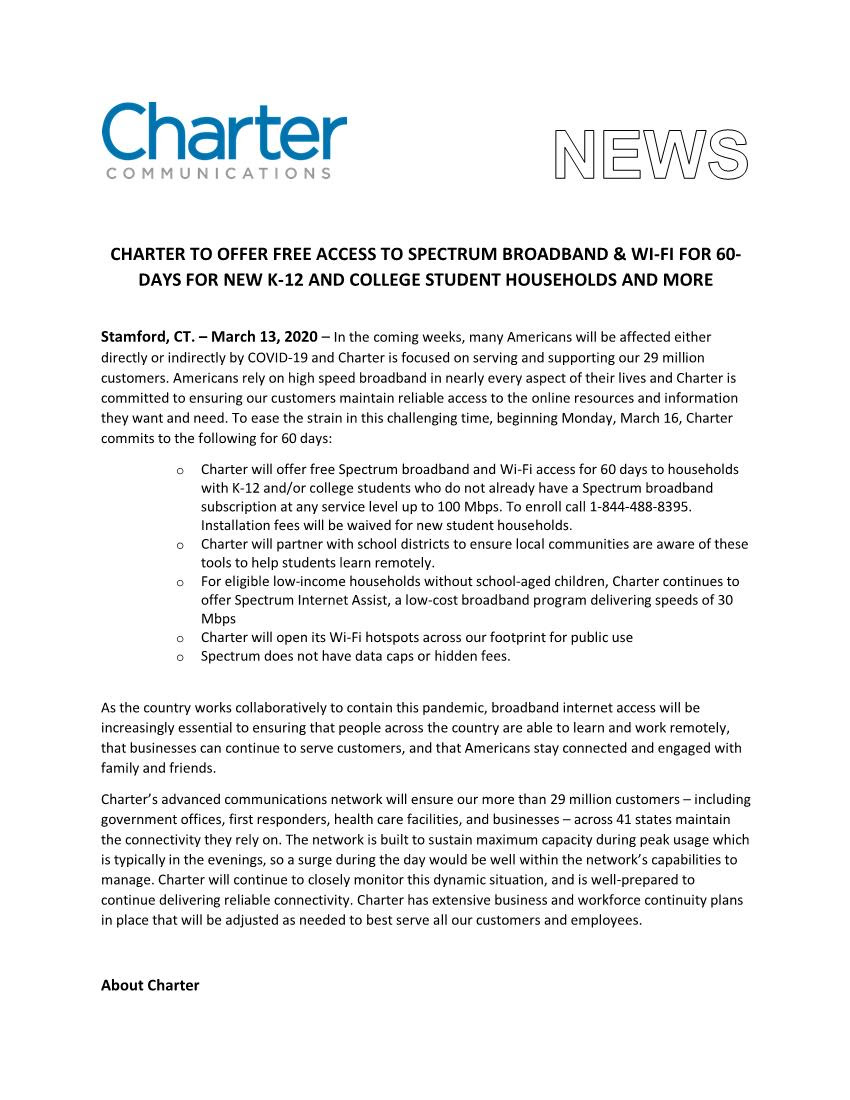Charter Spectrum Offers Free Broadband p1