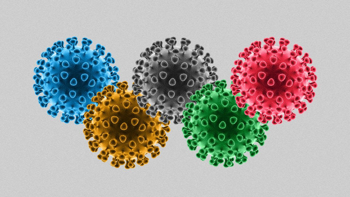An illustration of the olympic rings made up of coronavirus