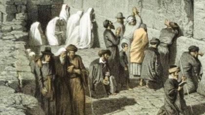 Jews Praying at Wailing Wall in Jerusalem