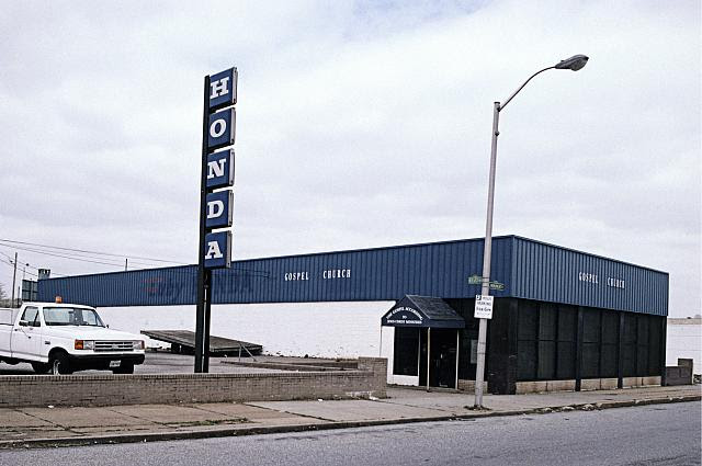 Former Honda dealership turned to Gospel Church According to Jesus Christ, East Monument Ave. at East Ave., Baltimore, 2002