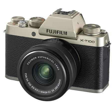 X-T100 Mirrorless Digital Camera, Champagne Gold with XC15-45mmF3.5-5.6 OIS PZ Lens