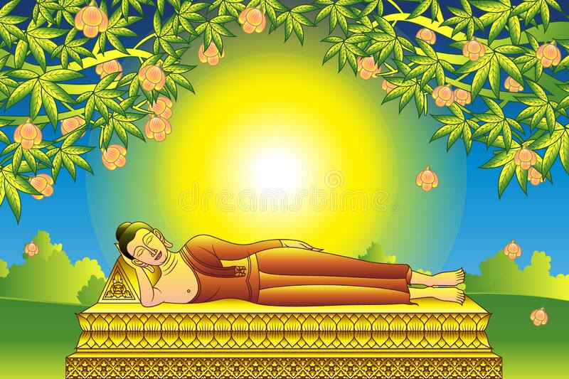Lord Buddha Nirvana, was dead under tree. This is important days of Buddhism. Vector illustration vector illustration