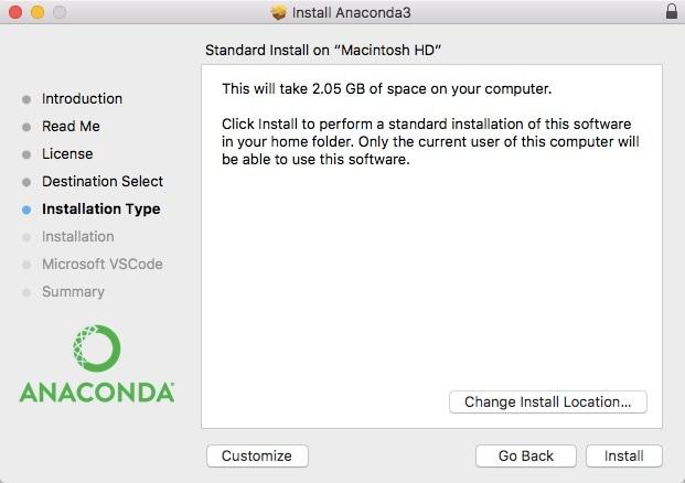 Anaconda Installation Screenshot (Python for Data Science Quickstart Guide)