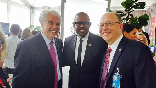 Bill Austin, Forrest Whittaker and a senior UN offical at the UN gathering in the SDG media zone