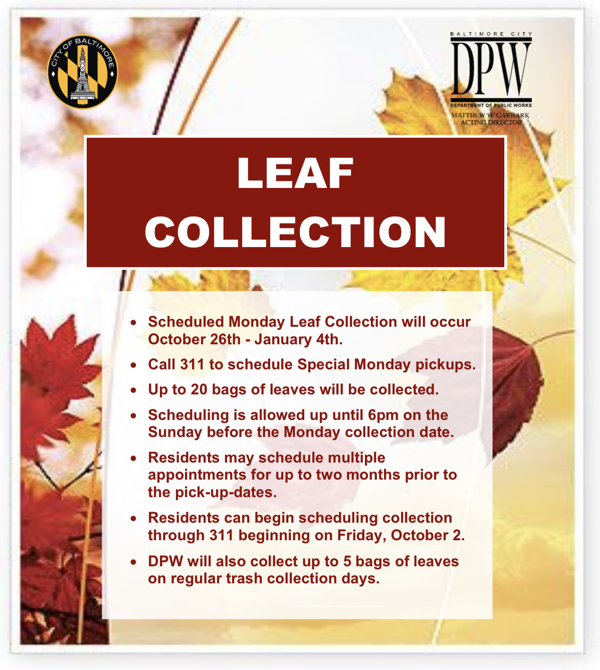 Leaf Collection Flyer October 2020