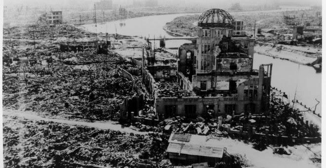 Imagen de la sede entonces de Promoción Industrial de la Prefectura de Hiroshima, fotografiada por el Ejército estadounidense tras lanzar la bomba atómica el 6 de agosto de 1945. EFE/Hiroshima Peace Memorial Museum
