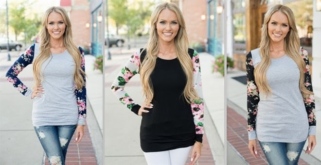*HOT* Floral Long Sleeve Top &...