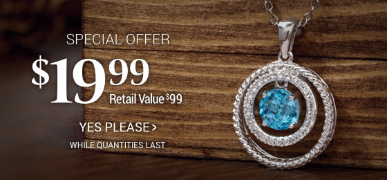 $19.99 Special Offer: Swiss Blue Topaz and Lab-Created White Sapphire Double Circle Pendant available for a limited time. While quantities last.