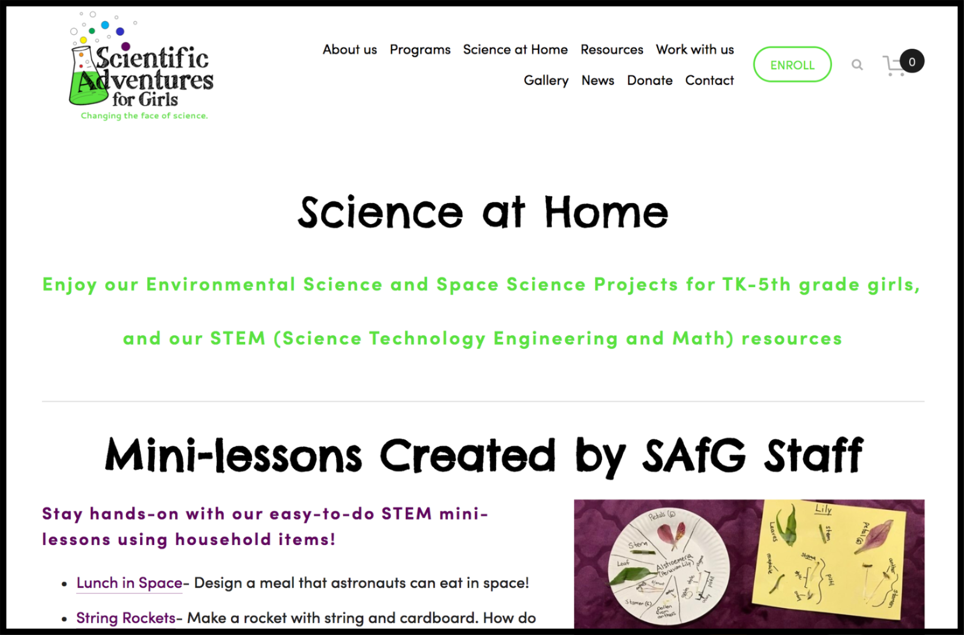 Scientific Adventures for Girls STEM at Home web page