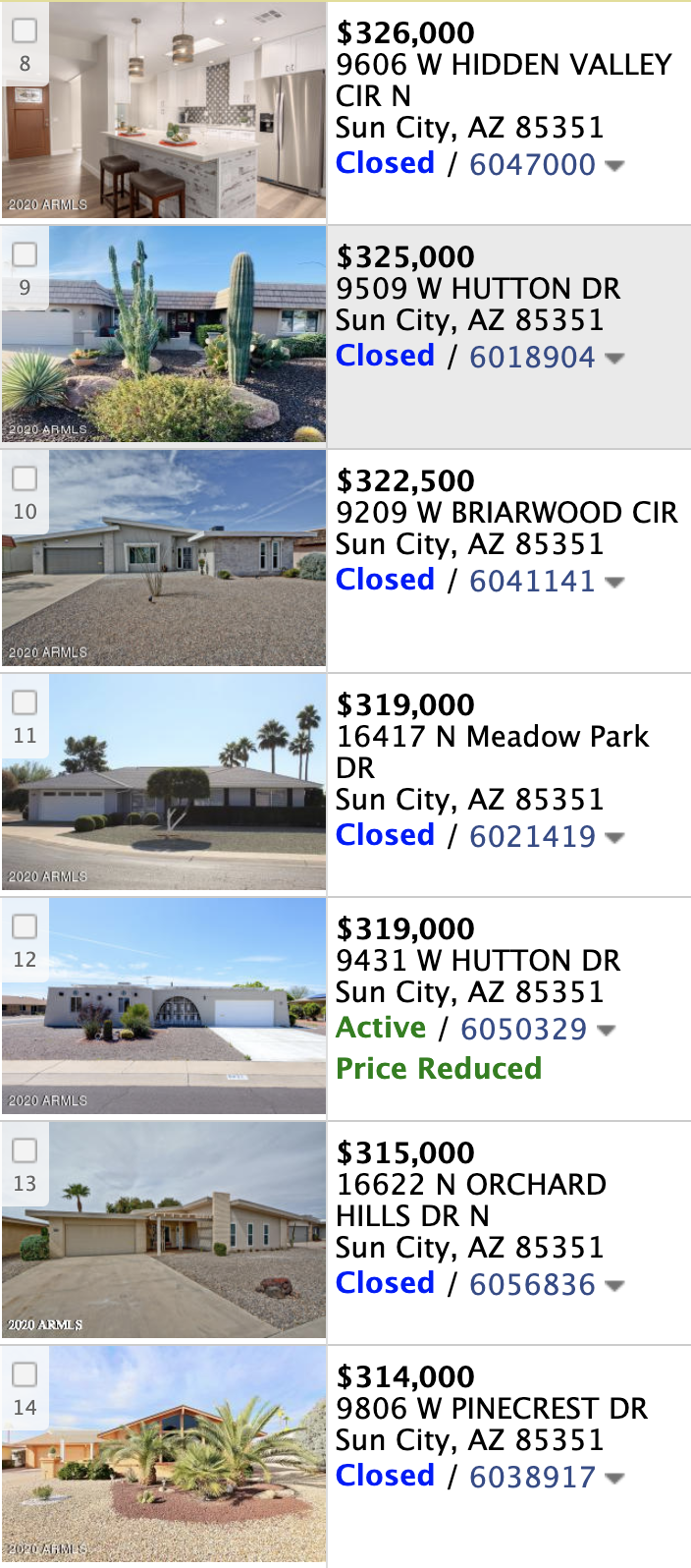16018 N Lakeforest Dr, Sun City AZ 85351  comps list
