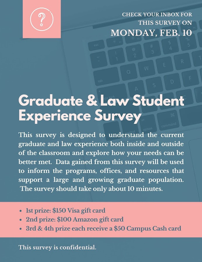 Graduate Student Experience Survey will be in your email inbox on February 10. Prizes to some for completing the survey.