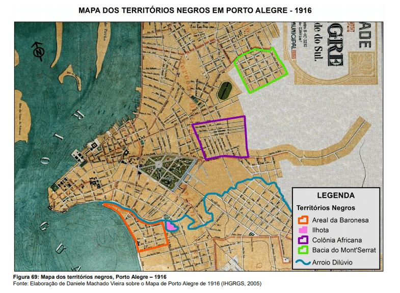 Mapa dos territórios negros em Porto Alegre em 1916