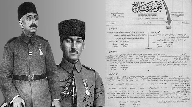 The Sultans (left) order assigning Mustafa Kemal Pasha (right) to start the war of independence in Samsun, published on the official gazette