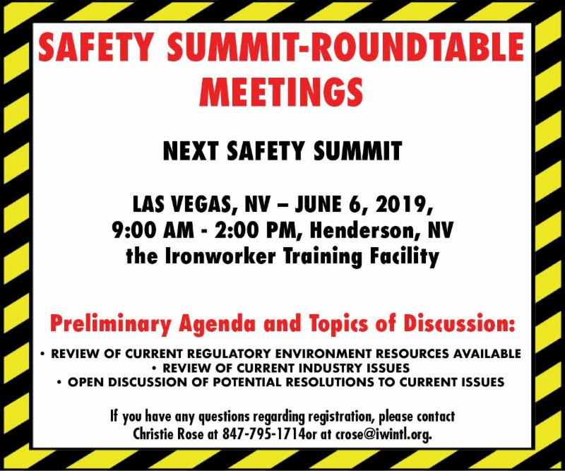 Safety Summit Roundtable Meetings June 6, 2019
