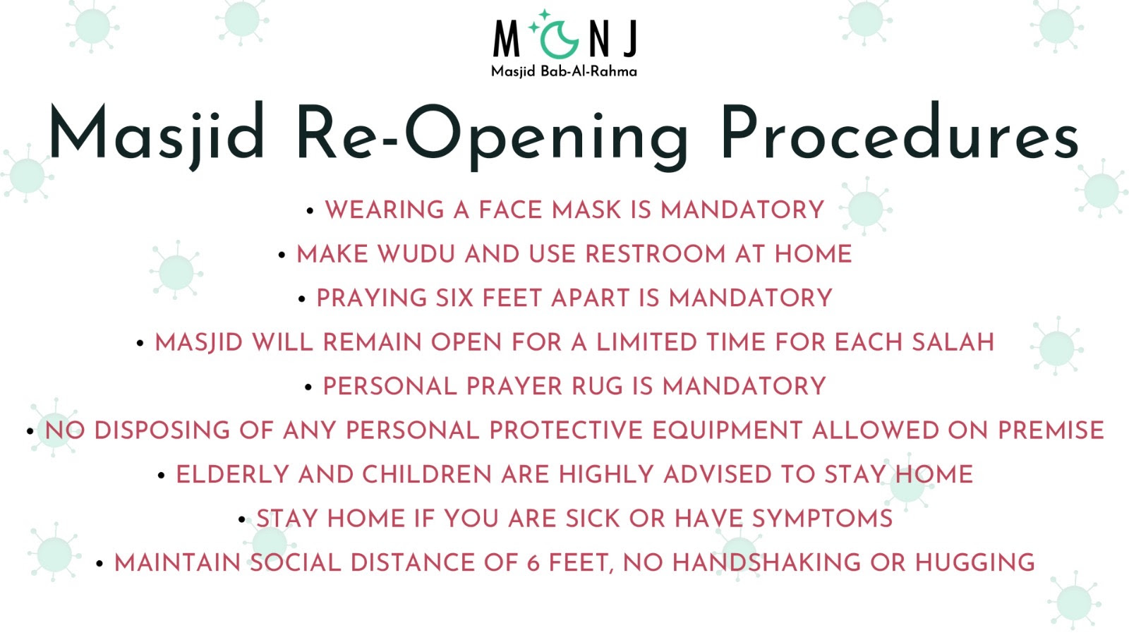 Masjid Re-Opening Procedures