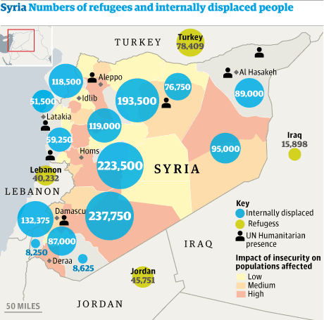 Bản đồ chỉ các trại tị nạn của dân Syria. Nguồn:  theguardian.com