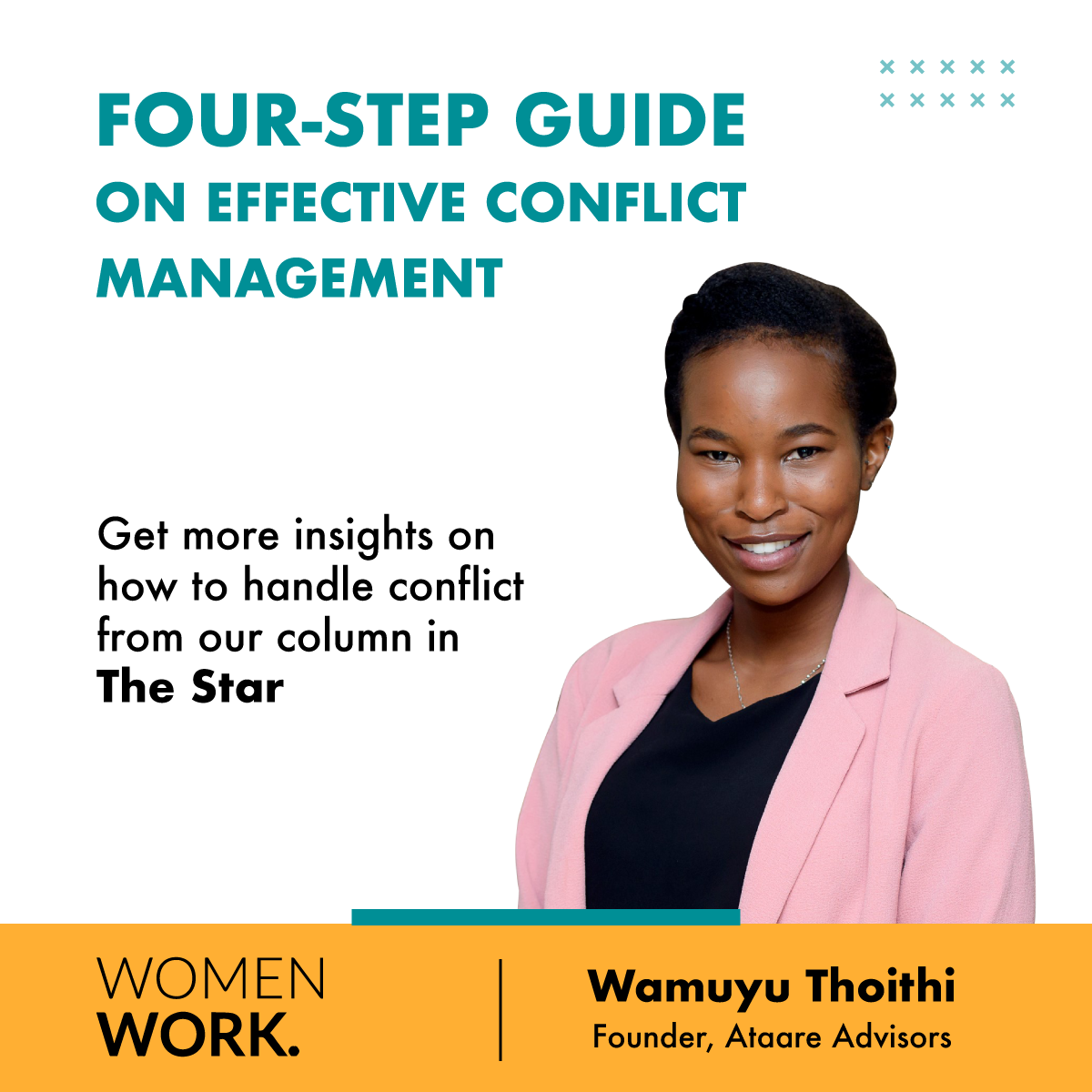a poster on the four step conflict management guide by Wamuyu in the WomenWork column in The Star