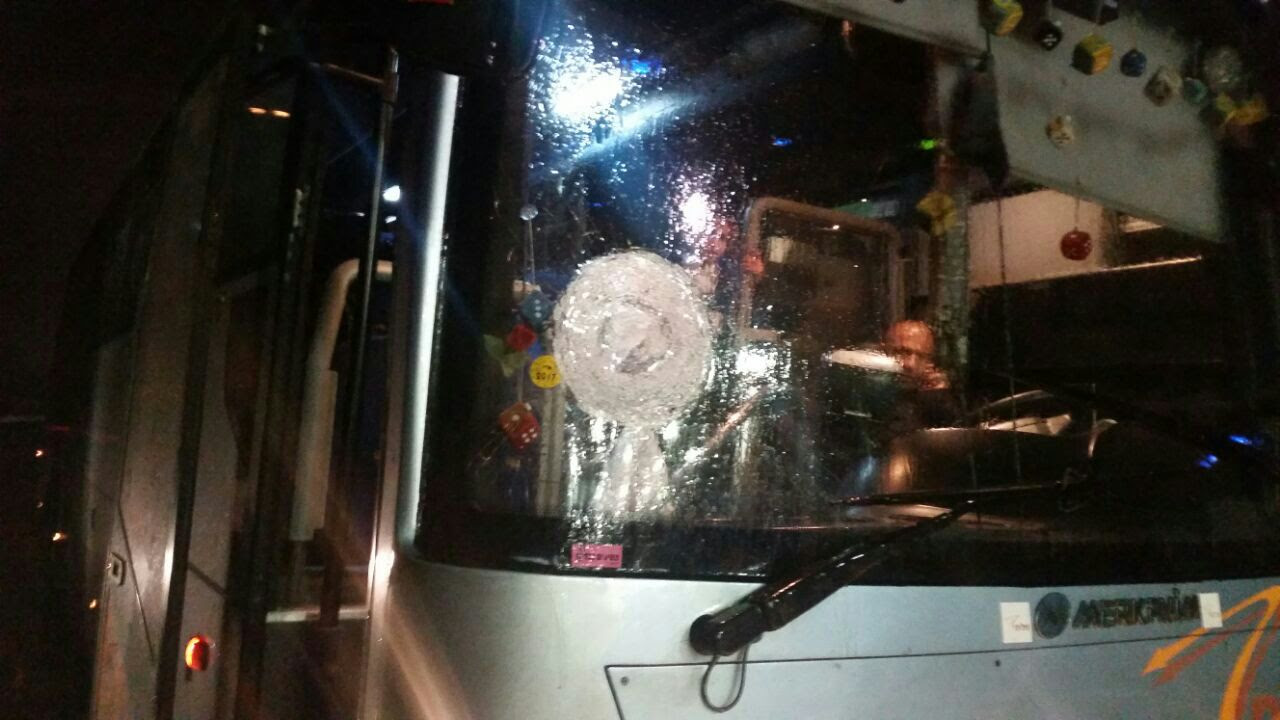 A bus stoned near Beitar Illit - Jan. 31, 2017