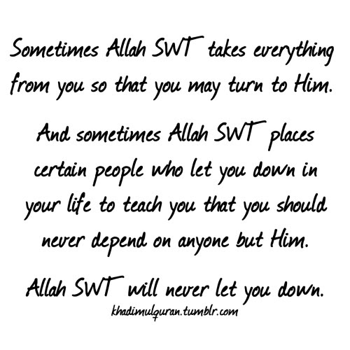 Allah SWT will never let you down.