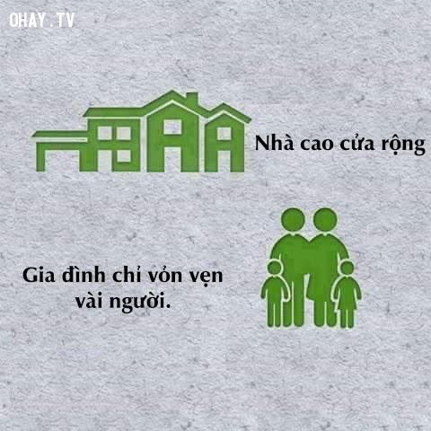 Ai cũng muốn có một ngôi nhà, nhà càng to đất càng rộng thì càng thể hiện được đăng cấp; nhưng chỉ với 3-4 người trong một gia đình thì nhà to có ý nghĩa gì?,thực trạng xã hội,tiêu cực