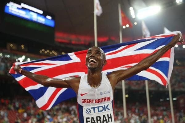 Mo Farah celebrates his 10,000m victory at the IAAF World Championships, Beijing 2015 (Getty Images)