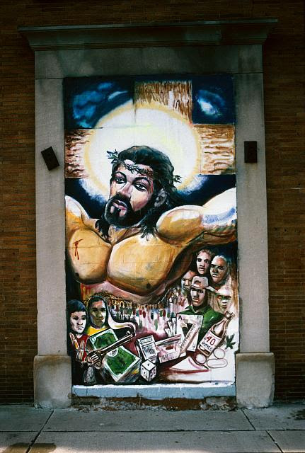 Christ as a body builder; mural by Curtis Lewis, Gratiot, Detroit, 1995