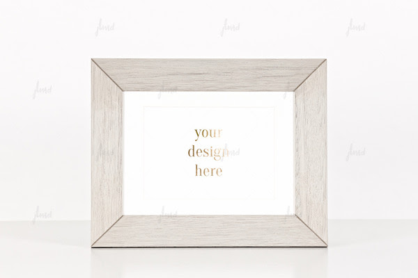 Grey wood frame on white background