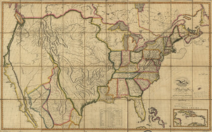 Map from around 1816 showing addition of Louisiana Purchase to U.S.