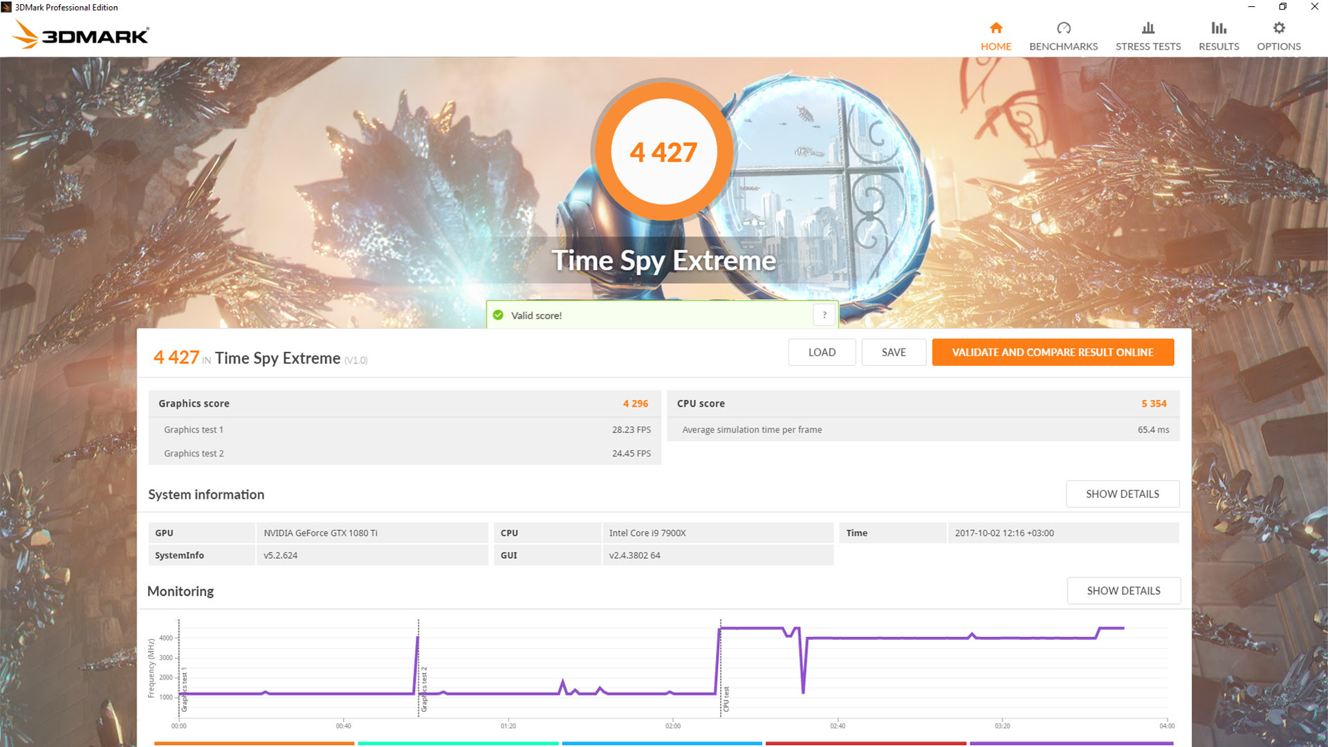 3DMark Time Spy Extreme result screenshot