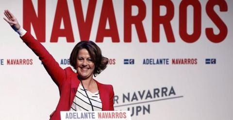 Yolanda Barcina, durante un mitin de la pasada campaña electoral.- JESÚS DIGES (EFE)